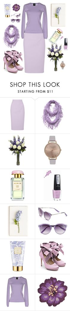 """""""Lavender"""" by julie-andrews ❤ liked on Polyvore featuring Raoul, Cozy by LuLu, Nearly Natural, Olivia Burton, AERIN, Isadora, Tommy Mitchell, Jason Wu, Liam Fahy and SUN68"""