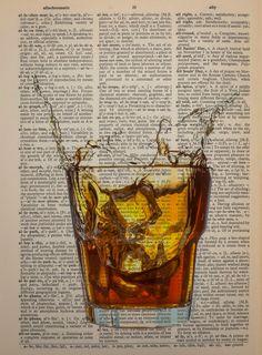 Whiskey Dictionary Art Print Bourbon Alcohol