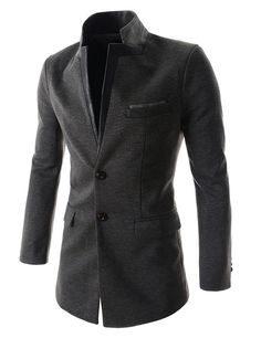 Mens Slim Fit China Collar Leather Patched Chest Pocket 2 Button Coat