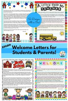Welcome your new students back to school with these 10 different designed letter templates to introduce yourself and start off the school year right. This pack includes both LETTERS TO STUDENTS & LETTERS TO PARENTS all in one pack! Welcome Letter School, Preschool Welcome Letter, Teacher Welcome Letters, Welcome Back Letter, Welcome To Kindergarten, Letter To Teacher, Welcome Back To School, Meet The Teacher, Parent Welcome Letters
