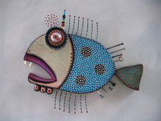 Twisted Bass 2, Original Found Object Sculpture, Wall Art, Wood Carving, by Fig Jam Studio