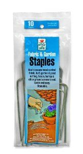 Easy Gardener 814 Landscape Fabric Steel Install Staples - 10 Pack by Easy Gardener. $4.84. Reusable; made of tough and durable polypropylene. Fabric staples. Landscape fabric sold separately. Attaches fabric and turf to soil. Durable steel construction. From the Manufacturer                Fabric and Garden Staples anchor landscape fabric to the soil quickly and easily. The durable steel construction makes them perfect for heavier commercial-grade fabrics. Th...