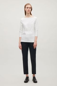 COS image 1 of 3/4 sleeve wide-neck t-shirt in White