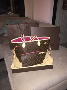 Love my new Louis Vuitton never full bag, with bright pink interior!!!