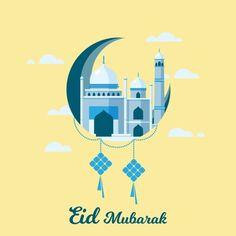 Eid Mubarak With Ketupat Islamic Mosque Vector Illustrations Vector and PNG Eid Mubarak Greeting Cards, Eid Mubarak Greetings, Vector Design, Vector Art, Mosque Vector, Eid Mubarak Card, Photography Editing Apps, Ramadan Background, Vector Illustrations