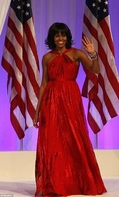 (Drumroll).....It's a Jason Wu for the First Lady's Inaugural Gown for President Obama's 2nd Presidential Inauguration. Crimson & understated..., Jason is the talented designer who also made her 2008 ball gown & launched his exclusive line at Target...  Mrs. Obama wore chiffon & velvet creation.    #Sexy