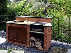 barbecue muratura caminettialiberti.it Outdoor Barbeque, Barbecue Area, Brick Bbq, Outdoor Sinks, Backyard Garden Landscape, Outdoor Furniture Sets, Outdoor Decor, Backyard Projects, Home Deco