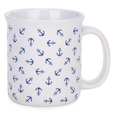 White ceramic coffee mug with navy anchors White Whale, Blue Whale, Whale Pattern, Navy Anchor, White Apron, White Coffee Mugs, Money Box, Nautical Theme, Anchors