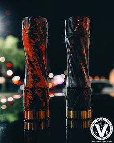 Have you ever wished that it was Halloween all year? It may never happen, but these new finishes for The King Mech Mod by Purge Mods can help keep you in the spirit! On the left, we have the Hallowed King finish with a black cerakoted copper body, finished off with an orange splatter. To the right, is the Blood Stain finish w/ a black cerakoted brass body, finished off with a deep red splatter.