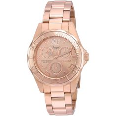 Invicta 21698 Rose Gold-Tone Angel Watch ($110) ❤ liked on Polyvore featuring jewelry, watches, white, invicta watches, white jewelry, invicta jewelry, stainless steel jewellery and quartz movement watches