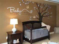 Boy Nursery - Mural that I designed and painted (not my room), Contemporary hand painted tree and words, baby boy room, Nurseries Design. Baby Bedroom, Baby Boy Rooms, Baby Room Decor, Baby Boy Nurseries, Nursery Room, Girl Nursery, Nursery Ideas, Brown Nursery, Dark Wood Nursery