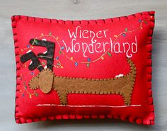 Dachshund Christmas Pillow Home Decor Wiener by MaxMinnieandMe