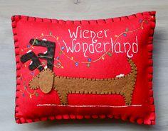 Dachshund Christmas Pillow Home Decor Wiener by MaxMinnieandMe