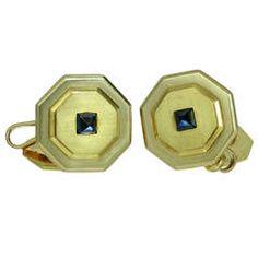 Cartier Art Deco Blue Sapphire Yellow Gold Octagon Cufflinks