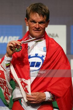 Vasil Kiryienka of Belarus celebrates on the podium after winning the Elite Men Time Trial on day five of the UCI Road World Championships on September 23, 2015 in Richmond, Virginia.