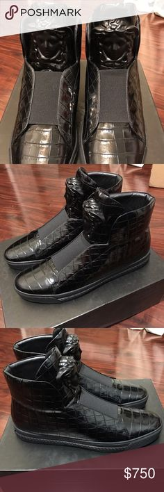 100% Auth Men's Versace Croc-embossed Hightop 100% Authentic Men's Versace Croc-embossed Leather Hightop. Size Men 9US/42EUR. Runs 1 size larger so it will fit 9.5-10US Men. New Never Worn. MSRP:$1250. All original box, dustbag, and certificate of authenticity included. I hate fakes and all dishonest sellers out there! Check out our World Wide W at BensUrbanBargainDOTCOM for more deep discounted High-end fashion items UP TO 70%OFF Versace Shoes Sneakers