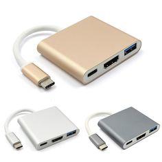 Tipo C Adaptador de USB 3.1 a USB-C 4 K HDMI USB3.0 3in1 Hub Para Apple Macbook Adaptador HUB USB 3.1 del Tipo C
