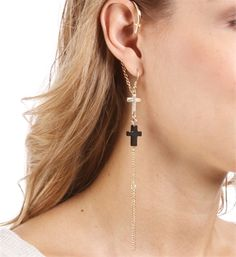 Gold Cross Dangle Ear Cuff
