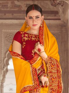 Mustard Georgette Saree With Blouse,Half Sleeve 127589 Sabyasachi Sarees, Georgette Sarees, Lehenga, Half Saree Designs, Saree Blouse Designs, Fashion Illustration Dresses, Sari Dress, Saree Models, Elegant Saree