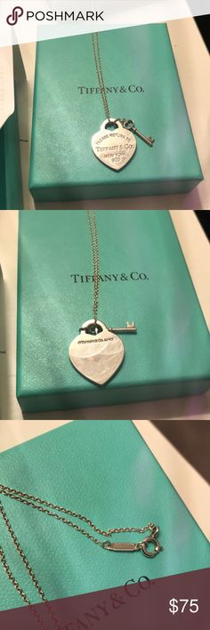 Tiffany Necklace Tiffany heart key pendant on sterling silver medium chain Tiffany & Co. Jewelry Necklaces