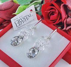 Ebay-jewellerymw-EARRINGS SWAROVSKI Elements ALMOND BLACK PATINA & RIVOLI STERLING SILVER 925-$17.20