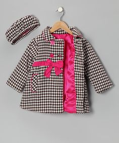 Brown Houndstooth Bow Peacoat & Hat - Toddler & Girls | Daily deals for moms, babies and kids