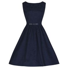 Audrey, a classic styled vintage Audrey Hepburn inspired navy brocade swing dress, by Lindy Bop. Choose from a range of colours and sizes. Vintage Inspired Fashion, Vintage Inspired Dresses, Retro Fashion, Vintage Dresses, Date Outfits, Fashion Outfits, Navy Cocktail Dress, Swing Dress, Blue Dresses