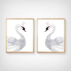 Watercolor swan Nursery  Print set   Nursery by sofianurseryart