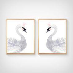 Watercolor swan Nursery Print set Nursery by sofianurseryart