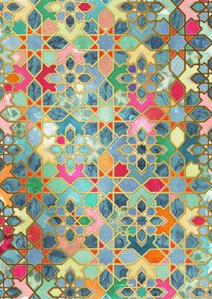 Gilt & Glory - Colorful Moroccan Mosaic Art Print