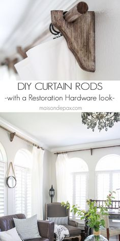 these are awesome! DIY real wood curtain rods with a Restoration Hardware look…