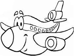 Resultado de imagen para avion caricatura para colorear