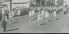 The marching band in 1951 during a parade in Downtown Hattiesburg.