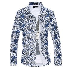2017 new arrivel seasons high quality fashion casual large size blue white flowered men's long sleeved shirt M-6XL