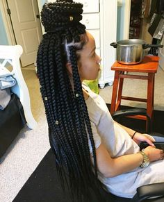 Large box braids for a fast protective style.