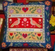 Love Birds Wedding Anniversary Sampler - Jolly Red