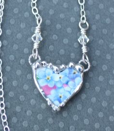 Necklace Broken China Jewelry Petite Heart by Robinsnestcreation1