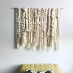 Woven Wall Hanging  Ivory and Neutral Fibers by UnrulyEdges