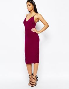 Slinky Strappy Midi Dress, Midi Cami Bodycon Dress, Cami Strap
