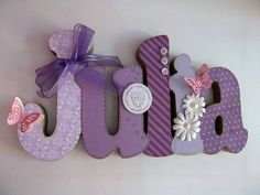 Pic only. like the buttons but perhaps other embellishments - Wood Letters Mdf Letters, Painting Wooden Letters, Baby Letters, Crafts To Make, Crafts For Kids, Arts And Crafts, Diy Crafts, Letter A Crafts, Letter Wall