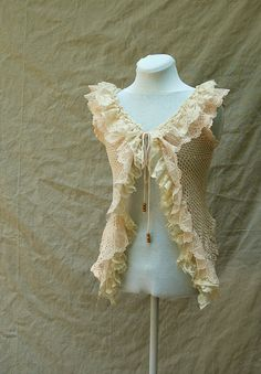 Crochet Lace Ruffle Vest - Romantic, Feminine, Shabby Chic, Tea Stained from Upcycled Clothing. $52.00, via Etsy.