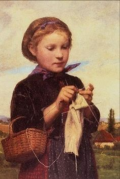 Albert Anker (1831-1910) Knitting girl.  (she appears to be knitting socks!)
