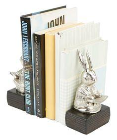Mind Reader Dark Brown & Silver Finish Reading Rabbit Bookends | Zulily