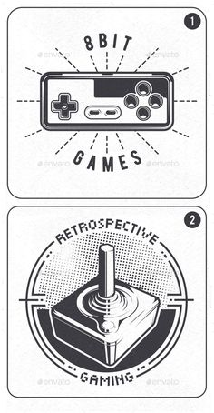 2 Retro Video Game Joystick Emblems Templates PSD, Transparent PNG, JPG Image, Vector EPS, AI Illustrator, TIFF Image