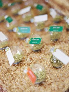 glitter ornament escort cards, photo by Erich McVey http://ruffledblog.com/sierra-madre-wedding #weddingideas #escortcards