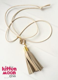 A new necklace available in my Etsy shop today. A simple boho style tassel pendant on a fabric cord, this necklace can easily be adjusted for length. A summer vibe!