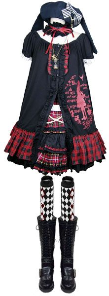 うさみみベレー (黒/黒) シャペロンルージュワンピ (黒/赤チェック) チェックフリルスカート (赤チェック) にゃんこベロブーツ(黒)  コーディネート|ゴスロリ通販 PUTUMAYO