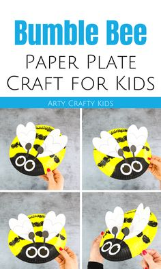 Looking for paper plate bee crafts for kids to make at home? These paper plate bumble bee crafts for kids are fun + cute + make perfect easy spring crafts for kids. Get videos + printable craft templates for these spring bee crafts for kids here! Bee Crafts For Kids, Paper Plate Crafts For Kids, Easy Arts And Crafts, Spring Crafts For Kids, Craft Activities For Kids, Preschool Crafts, Animal Activities, Daycare Crafts, Paper Crafts