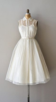 Little Dreamer wedding dress / swiss dot 50s wedding by DearGolden