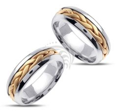 14k white and yellow Gold His and Her Wedding rings 7 mm HHL346-14G-WYW